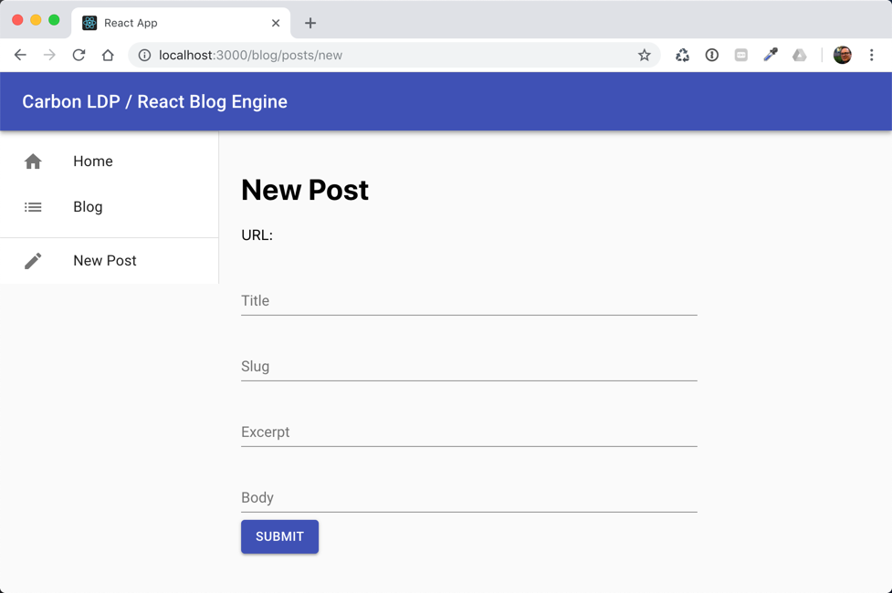 New Post form view